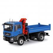 MAN TGS M Euro 6 Allrad-Kipper mit Ladekran, blau