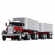 PETERBILT Model 351 DayCab with Dual 22´End Dump Trailer, black/red