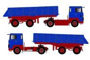 SCANIA S0 4x2 mit Kippauflieger, blau/rot