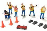 6 Figuren. American Workers mit Leitkegel