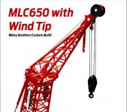 MANITOWOC Raupenkran MLC650 mit Windrad Montagespitze