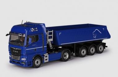 MAN TGX 6c 18.510 mit SCHMITZ  3achs Kippauflieger, blau