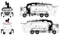 DAF CF 85 3achs Müllwagen mit Kran, weiß