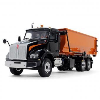 KENWORTH T880 mit Tub-Style Roll-Off Container , schwarz/orange