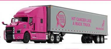 MACK Anthem 3achs mit 53´Kofferauflieger, pink lady