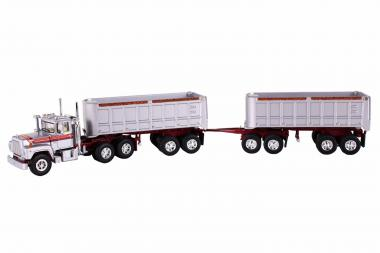 MACK R with Dual End Dump Trailers, silver/orange/red