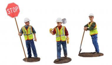 Set mit 3 Figuren Straßenarbeiter mit Schaufel oder Stopschild