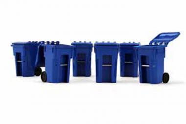 Set mit 6 Mülltonnen, blau