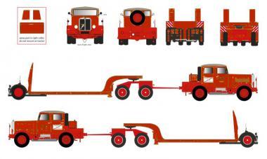 HANOMAG SS100 Zugmaschine mit LANGENDORF Tieflader, rot