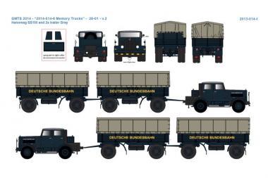 HANOMAG SS100 Zugmaschine mit 2 Anhängern in Showvitrine