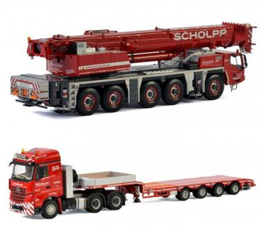 "Set: TADANO ATF220G-5 + MB Actros with 4axle lowboy ""Scholpp"""