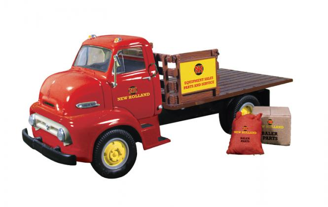 """FORD COE 2axle Stake truck with load """"New Holland Parts&Service"""""""