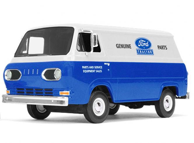 FORD Econoline Van von 1960 mit 3 Kisten, blau/weiß