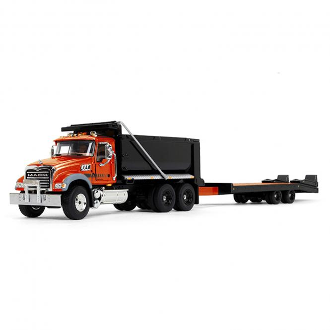 MACK Granite Dumpr Truck with Beavertail Trailer, orange/black