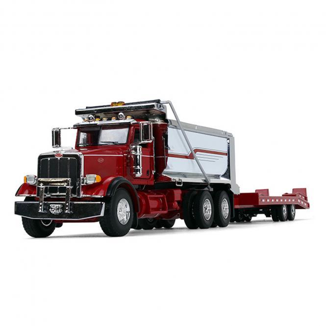 PETERBILT Model 367 Dump Truck with Beavertail Trailer, red/chrome