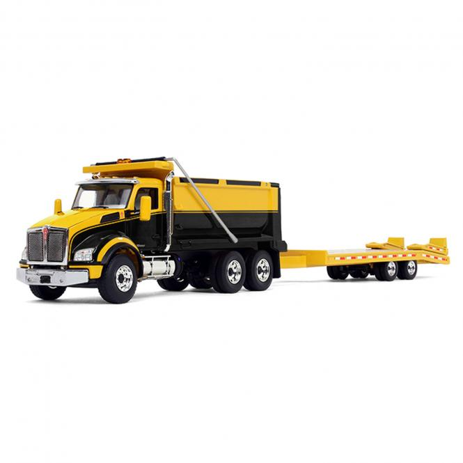 KENWORTH 880 Dumpt Truck with Beavertail Trailer, yellow/black