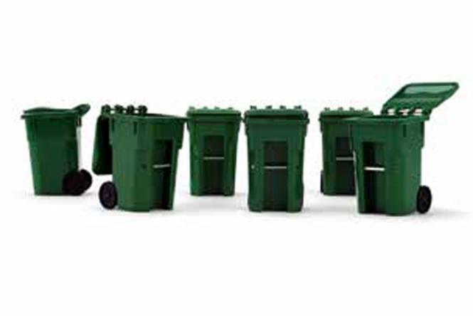 Set mit 6 Mülltonnen, grün