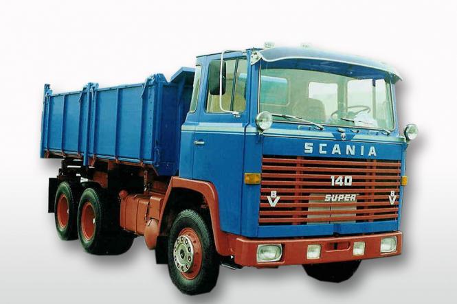 SCANIA 110 6x4 Kipper, blau/rot