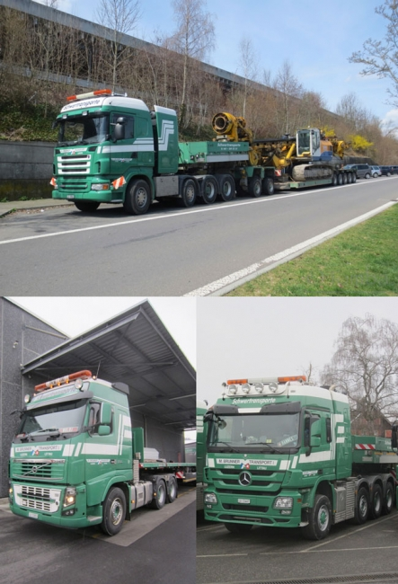 "MB Actros + SCANIA R + VOLVO FH3 mit NOOTEBOOM 2+5achs Euro-PX ""Brunner"""