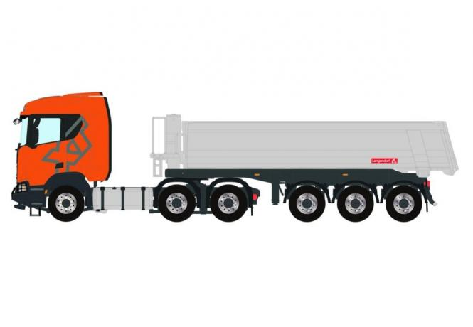 SCANIA R 6x4 mit 3achs LANGENDORF Kippauflieger, orange-silber