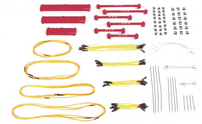 Hebeset mit Auslegerbalken Schlingen Schäkel 121 Teile, rot
