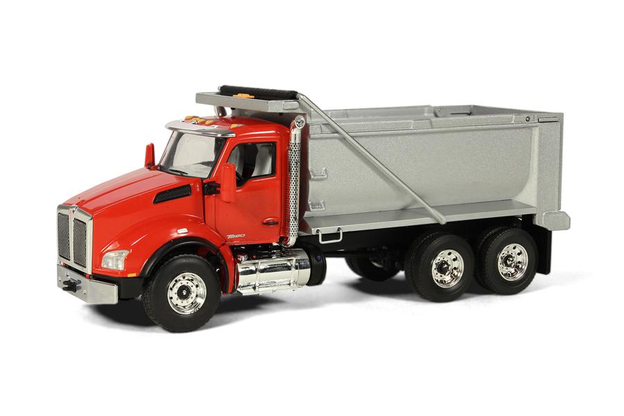kenworth t880 3axle dump truck red silver purchase online. Black Bedroom Furniture Sets. Home Design Ideas